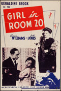 "Movie Posters:Black Films, The Girl in Room 20 (Astor Pictures, 1946). One Sheet (28"" X 42"").Black Films.. ..."