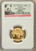 China:People's Republic of China, 2013 China Panda Gold 100 Yuan (1/4 oz), First Releases MS69 NGC. PCGS Population (29/113)....