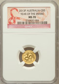Australia, 2013-P G$5 Australia, Year of the Snake MS70 NGC. NGC Census: (0).PCGS Population (0)....
