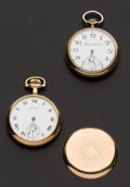 Timepieces:Pocket (post 1900), Two Runners, Hampden 21 Jewel Wm. McKinley, Waltham 15 Jewel. ...(Total: 2 Items)