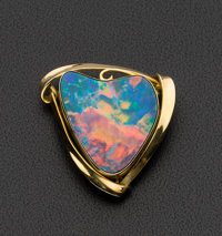 Heart Shaped Gold Opal Doublet Brooch