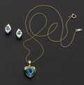 Estate Jewelry:Coin Jewelry and Suites, Blue Topaz Heart Pendant & Earrings Set. ... (Total: 2 Items)