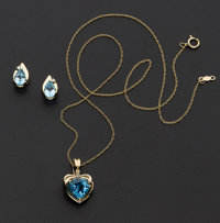 Blue Topaz Heart Pendant & Earrings Set