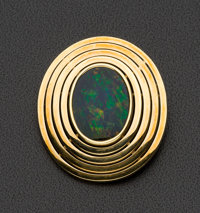 Large Gold Opal Doublet Brooch