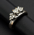 Estate Jewelry:Rings, Heart-Shaped 14k White Gold Ring & Band. ...