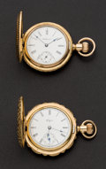 Timepieces:Pocket (post 1900), Elgin & Waltham Fancy Engraved O Size Hunters Case Watches. ... (Total: 2 Items)