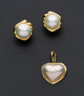 Estate Jewelry:Other , Mabe Pearl Earrings & Heart Pendant. ... (Total: 2 Items)