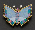 Estate Jewelry:Brooches - Pins, Large Gold, Opal Butterfly Brooch. ...
