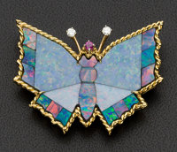 Large Gold, Opal Butterfly Brooch