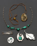 Estate Jewelry:Lots, A Lot Of Five Sterling Silver Pieces & One Carved Agate Necklace. ... (Total: 6 Items)