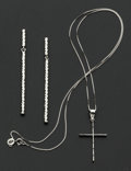 Estate Jewelry:Other , Gold Cross Pendant & Drop Earrings. ... (Total: 2 Items)