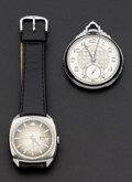 Timepieces:Other , Bucherer Automatic Wristwatch & Illinois 19 Jewel Pocket Watch.... (Total: 2 Items)