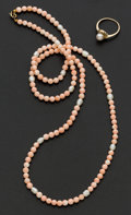 Estate Jewelry:Other , Angel Skin Coral Bead Necklace & Cultured Pearl Ring. ...(Total: 2 Items)