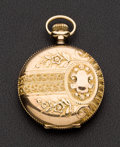 Timepieces:Pocket (post 1900), Elgin 14k O Size Hunter With Raised Relief Flowers & Crest. ...