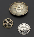 Estate Jewelry:Other , Sterling Silver Poppy Brooch & Pinwheel Brooch & Seitz BeltBuckle. ... (Total: 3 Items)