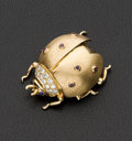 Estate Jewelry:Brooches - Pins, Dankner Signed Gold, Diamond & Ruby Beetle Brooch. ...