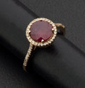 Estate Jewelry:Rings, Ruby & Diamond Pink Gold Ring. ...