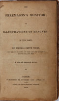 Books:Americana & American History, Thomas Smith Webb. The Freemason's Monitor. Cushing andAppleton, 1816. New edition. 322 pages. Contemporary leather...