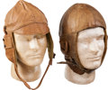 Military & Patriotic:WWI, Pair of WWI Era Aviators' Leather Flying Helmets.... (Total: 2Items)