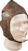 Military & Patriotic:WWI, WWI U.S. Aviators' Flying Helmet With Souvenir Painting....