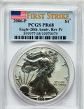 Modern Bullion Coins, 2006-P $1 Silver Eagle, 20th Anniversary Reverse Proof First StrikePR68 PCGS. PCGS Population (863/3680). NGC Census: (0/0...