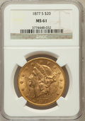 Liberty Double Eagles: , 1877-S $20 MS61 NGC. NGC Census: (670/172). PCGS Population(441/295). Mintage: 1,735,000. Numismedia Wsl. Price for proble...