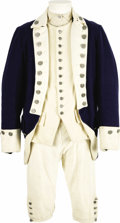 "Movie/TV Memorabilia:Costumes, ""The Patriot"" Colonial Uniform Costume. A colonial-style uniformconsisting of shirt, trouser, vest, heavy wool overcoat, a...(Total: 1 Item)"