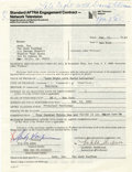 "Movie/TV Memorabilia:Autographs and Signed Items, Andy Kaufman Signed ""Late Night with David Letterman"" Contract. Anappearance agreement dated February 23, 1983, signed on t...(Total: 1 Item)"