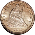 Seated Quarters, 1877-S 25C Over Horizontal S MS64 NGC....
