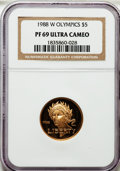 Modern Issues, 1988-W G$5 Olympic PR69 Ultra Cameo NGC. NGC Census: (5833/3513).PCGS Population (8551/437). Mintage: 281,000. Numismedia ...