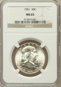 Franklin Half Dollars: , 1951 50C MS65 NGC. NGC Census: (775/87). PCGS Population (702/64).Mintage: 16,859,602. Numismedia Wsl. Price for problem f...