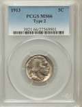 Buffalo Nickels: , 1913 5C Type Two MS66 PCGS. PCGS Population (184/18). NGC Census:(70/7). Mintage: 29,858,700. Numismedia Wsl. Price for pr...