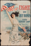"Movie Posters:War, World War I Propaganda ""Fight or Buy Bonds, Third Liberty Loan""(Forbes, 1918). Poster by Howard Chandler Christy (20"" X 30""..."