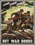 "Movie Posters:War, World War II Propaganda (U.S. Government Printing Office, 1942).War Bond Poster (22"" X 28""). ""Attack Attack Attack."" War.. ..."