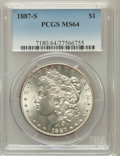 Morgan Dollars: , 1887-S $1 MS64 PCGS. PCGS Population (1758/350). NGC Census:(949/172). Mintage: 1,771,000. Numismedia Wsl. Price for probl...