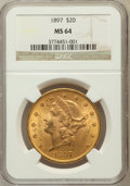 Liberty Double Eagles: , 1897 $20 MS64 NGC. NGC Census: (309/12). PCGS Population (200/5).Mintage: 1,383,261. Numismedia Wsl. Price for problem fre...