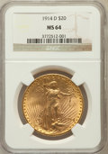 Saint-Gaudens Double Eagles: , 1914-D $20 MS64 NGC. NGC Census: (1907/587). PCGS Population(2260/1042). Mintage: 453,000. Numismedia Wsl. Price for probl...