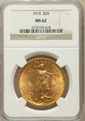 Saint-Gaudens Double Eagles: , 1915 $20 MS62 NGC. NGC Census: (723/785). PCGS Population(587/922). Mintage: 152,050. Numismedia Wsl. Price for problemfr...