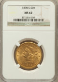 Liberty Eagles: , 1898-S $10 MS62 NGC. NGC Census: (129/23). PCGS Population(128/43). Mintage: 473,600. Numismedia Wsl. Price for problem fr...