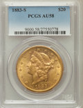 Liberty Double Eagles: , 1883-S $20 AU58 PCGS. PCGS Population (283/1468). NGC Census:(375/1403). Mintage: 1,189,000. Numismedia Wsl. Price for pro...