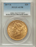 Liberty Double Eagles: , 1877-S $20 AU58 PCGS. PCGS Population (326/963). NGC Census:(637/1202). Mintage: 1,735,000. Numismedia Wsl. Price for prob...