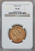 Liberty Eagles, 1854-S $10 VF30 NGC....