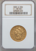 Liberty Eagles, 1881-O $10 VF30 NGC. Variety 1....