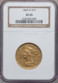 Liberty Eagles, 1843-O $10 XF45 NGC. Variety 4....