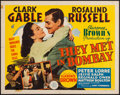 "Movie Posters:Adventure, They Met in Bombay (MGM, 1941). Half Sheet (22"" X 28""). Adventure....."