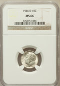 Roosevelt Dimes: , 1946-D 10C MS66 NGC. NGC Census: (842/499). PCGS Population(1374/107). Mintage: 61,043,500. Numismedia Wsl. Price for prob...