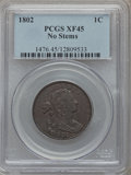 Large Cents, 1802 1C No Stems XF45 PCGS. S-241, B-20, R.1....