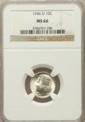 Roosevelt Dimes: , 1946-D 10C MS66 NGC. NGC Census: (842/501). PCGS Population(1374/106). Mintage: 61,043,500. Numismedia Wsl. Price for prob...