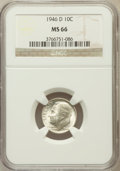 Roosevelt Dimes: , 1946-D 10C MS66 NGC. NGC Census: (841/499). PCGS Population(1374/107). Mintage: 61,043,500. Numismedia Wsl. Price for prob...
