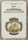 Walking Liberty Half Dollars: , 1945-D 50C MS66 NGC. NGC Census: (2079/200). PCGS Population(1942/153). Mintage: 9,966,800. Numismedia Wsl. Price for prob...